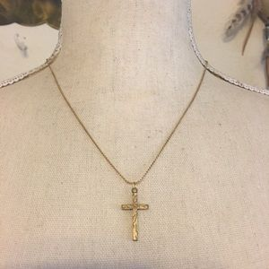 Antique 1940s etched cross on chain necklace